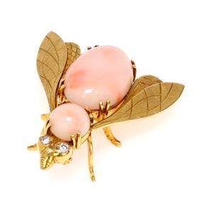 Vintage Diamond Coral 18k Yellow Gold Fly Brooch