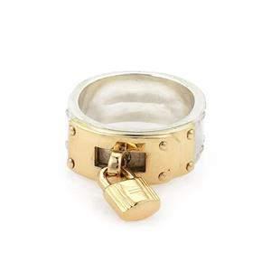 Hermes Sterling 18k Yellow Gold Padlock Drop Charm Band