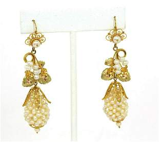 Estate Freshwater Pearls 10k Yellow gold Floral Drop
