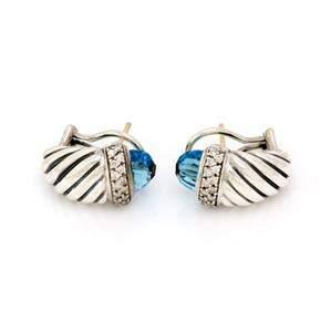 David Yurman Diamond Blue Topaz 925 Silver Shrimp Cable