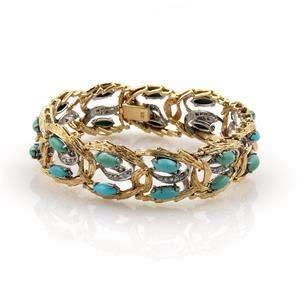 Vintage Diamonds & Turquoise 18k Two Tone Gold Open
