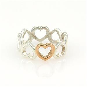 Tiffany & Co. 925 Silver 18k Rose Gold 7mm Open Hearts