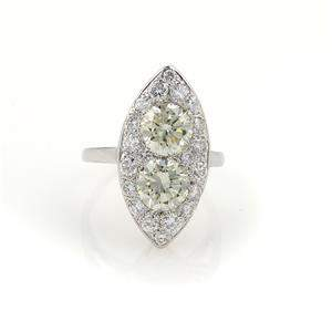 Vintage 3.85ct Diamonds 14k White Gold 2 Solitaires