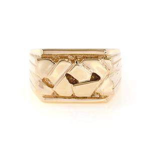 New 14k Yellow Gold Men's Nugget Ring Size - 9