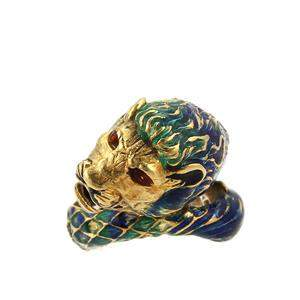 Vintage 18kt Yellow Gold & Multi-Color Enamel Leo Lion
