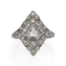 Art Deco Old Mine Cut Diamonds Platinum Rhombus