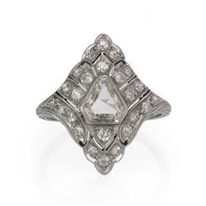 Art Deco Old Mine Cut Diamonds Platinum Rhombus