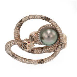 Large 5ct Diamond 18k Rose Gold Tahitian Pearl Coiled