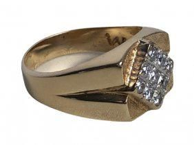 HEAVY GOLD AND DIAMOND RING SET IN 14K YELLOW GOLD