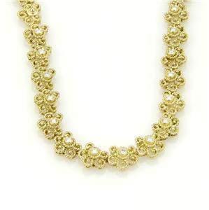 Beautiful 18k Yellow Gold & Diamond Floral Etruscan