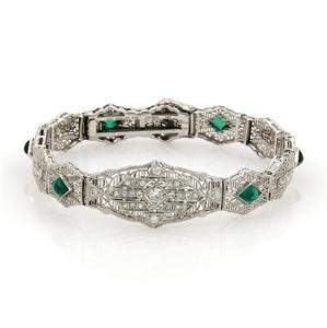 Art Deco Diamond Emerald 14k White Gold Filigree Fancy