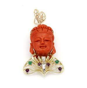 Vintage Coral Carved Buddah Ruby Emerald & Diamond 18k
