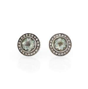 David Yurman Diamond Green Amethyst 925 Silver Stud