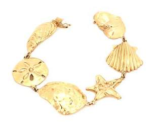 Vintage 14k YGold 6 Assorted Sea Shell & Starfish Link