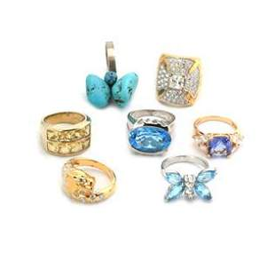 Vintage Lot of 7 Rings Turquoise Cubic Zirconia