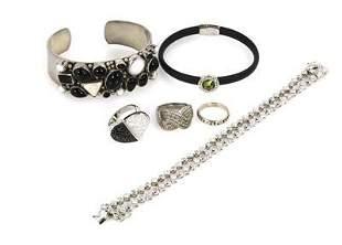Vintage Lot of 6 Pieces Sterling Gemstone Bracelet &
