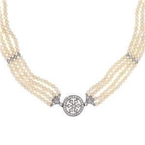 Vintage Diamond & Pearls 18k White Gold 4 Strand Choker