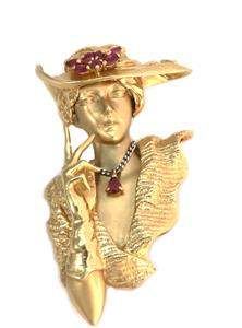 Designer Tyche Ruby 14k Yellow Gold Platinum 3D Lady