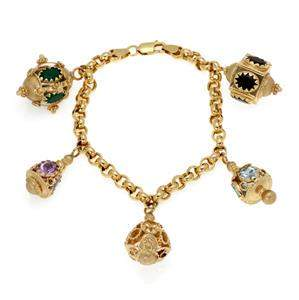 Multi-Color Gems 14k Yellow Gold 5 Fancy Charms Chain