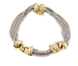 18k Two Tone Gold 4 Strand Fancy Chain Link Bracelet