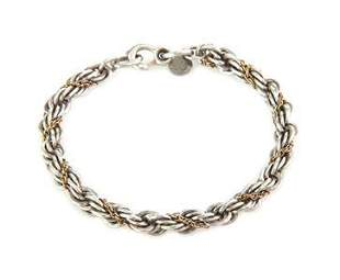 Tiffany &Co Vintage 925 Silver 18k Gold 6mm Chain