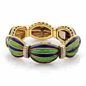 Estate 1ct Diamonds & Enamel 18k Gold Secret Watch