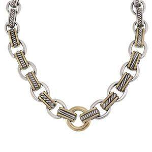 David Yurman 925 Silver 18k Gold Cable Style Ring Link