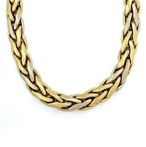 Large 18k Two Tone Gold 14.5mm Wide Woven Link Necklace