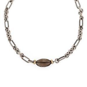 David Yurman Smoky Quartz 925 Silver 18k Gold Pendant &