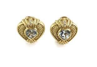 Judith Ripka Diamond Topaz 18k YGold Hearts Clip On