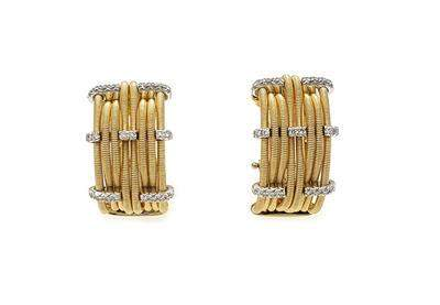 Marco Bicego Diamond 18k Gold Multi Cable Wide Hoop