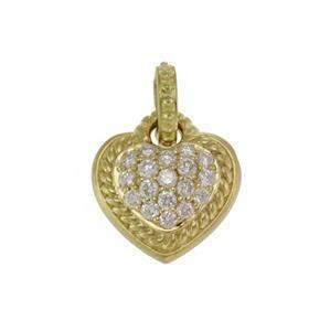 Judith Ripka Diamond 18k Yellow Gold Heart Pendant