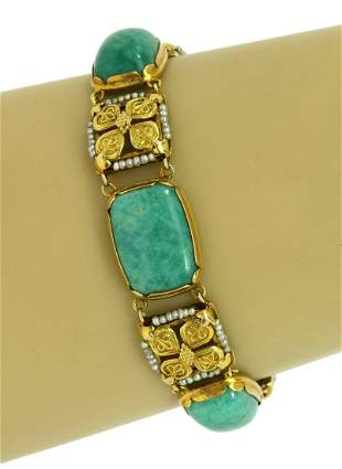 Art Nouveau Amazonite Gemstone Seed Pearls 14k Yellow