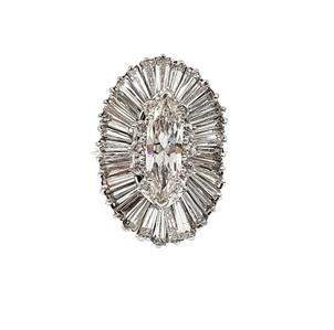 Gorgeous 7.5ct Marquise Baguette Round 14k White Gold