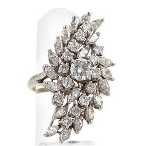 Vintage 3.20ct Diamond 14k White Gold Long Cluster Ring