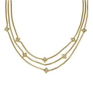 David Yurman Quatrefoil Diamond 18k Yellow Gold Triple