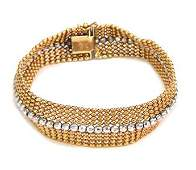 Vintage 14k Two Tone Gold 14mm Wide Flexible Bead Style