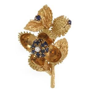 Tiffany & Co. Diamond Sapphire 18k Gold Floral Movable
