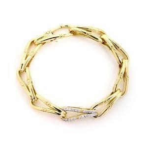 John Hardy Modern Diamond 18k Gold Fish Bone Flex Link