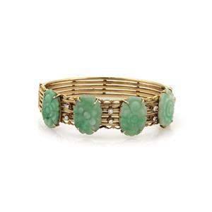 Vintage Diamond Jade Solid 14k YGold Wide Floral
