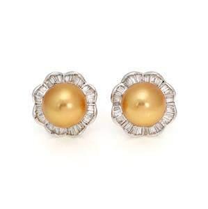 Estate 3.00ct Diamond Golden South Sea Pearl 14k WGold
