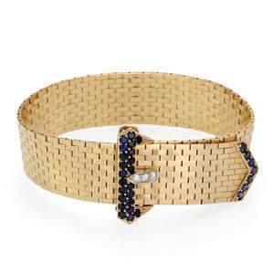 Estate 1.06ct Sapphire & Diamond 14k Yellow Gold Belt