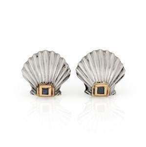 Tiffany & Co. Sapphire 14k Gold & Silver Sea Shell Clip