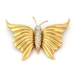 Estate Diamond 18k Yellow Gold Large Fancy Butterfly