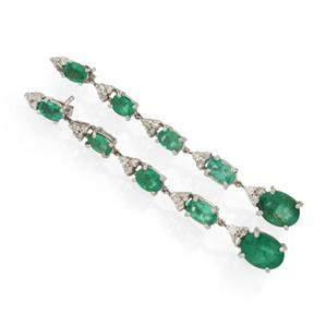 Vintage 6.60ct Emerald & Diamond 14k White Gold Dangle
