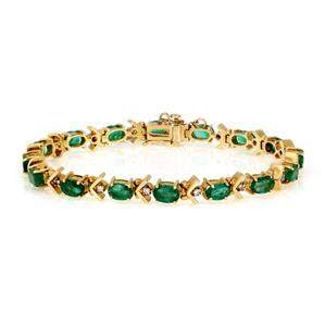 Vintage 8.25ct Diamond Emerald 14k Yellow Gold Tennis
