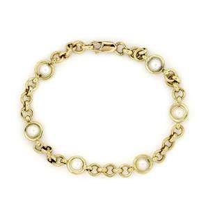 Tiffany & Co. Pearls 18k Yellow Gold Round Link