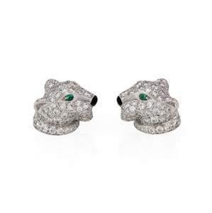 Panthere De Cartier Diamond Emerald Onyx 18k White Gold