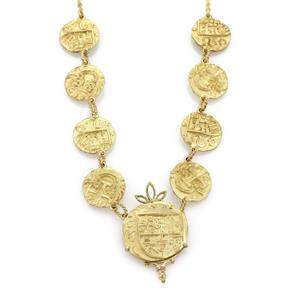 Vintage 18k Yellow Gold Fancy Carved 9 Coins Byzantine