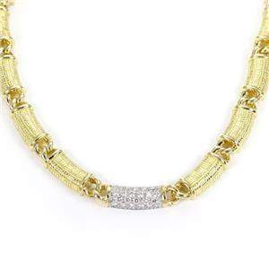 Platinum 18k YGold 1 Carat Diamond Textured Curved Bar